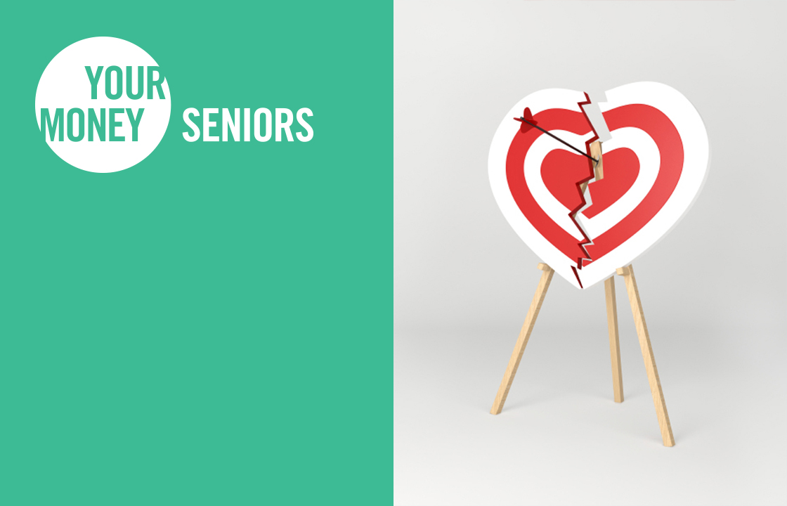 your money seniors logo in white over a green background with a broken heart bulls eye on an easel with an arrow in the middle and a pink piggy bank hanging from a red streamer