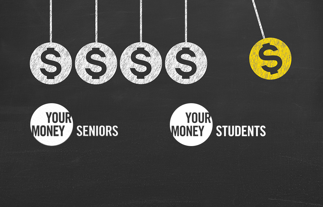 blackboard with Your Money logos
